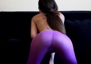 Masturbating hottie pulls hose up her legs