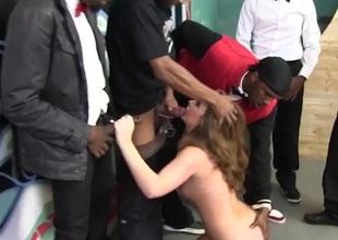 Black dudes cum all over a cute white girl