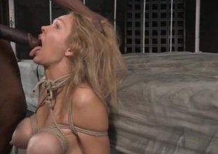 Blonde tied up and face fucked by a black cock