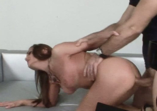 Super hot backstage video with redhead chick getting wazoo fucked