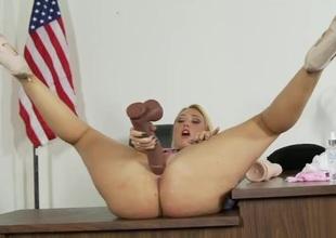 Big ass solo schoolgirl bonks a big dark sex-toy