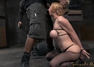 Big tits are sexy on the cocksucking bondage girl