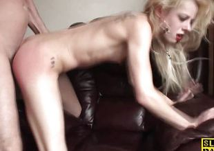 Racy blonde fucked from behind