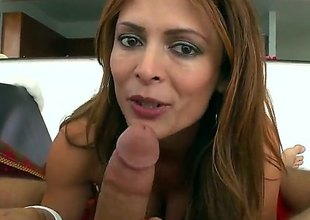 Monique Fuentes is a hot brunette milf that is giving a blow job. She has large bumpers with pointy nipples and we also see her getting a tit fuck here.