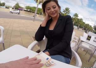 Charming European chick Anna Polina is short on her dough but has a great chance to earn some cash. That babe bares her big jugs in a public place in front of the camera readily