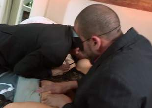 Asian slut in mask Asa Akira acquires her a-hole and pussy fingered before she takes 2 cocks in MMF threesome. Hot gusy show no mercy banging horny as hell exotic bitch Asa Akira