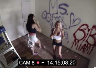 Aidra Fox and another bad girl do lewd things and have passionate lesbian sex right in front of security camera. See unsuspecting blonde and brunette play with each other