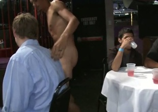 Fucking his constricted butt in front of all his friends