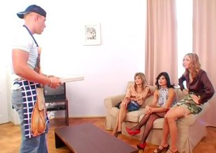 Pizza delivery man gets favourable with 3 slutty European MILF whores