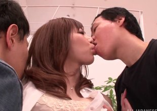 Dirty Japanese MILF getting tag teamed by 2 energetic guys