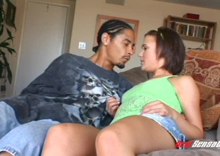 Spunky dark-haired teen with perky bazookas and a big ass blowing a perverted dark guy