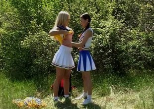 Splendid girls enjoy licking and toying their cunts outdoors in a hot lesbians scene