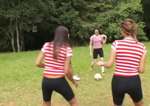 Soccer team of sexy t-girls gangbang one lucky guy outdoors