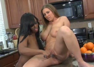 Buxom ebon and bootylicious white lesbians love fucking cookies with toy