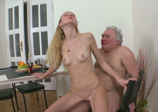 Skinny blond girlfriend fucks her BF and his old grand-dad