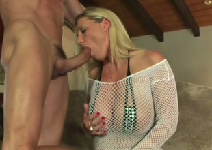 Just fantastic big breasted blonde MILF enjoys sucking dick with excitement