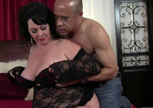 This BBW is hungry for some cock as this babe swallows his sword