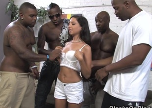 Tiny tits brunette disrobes her short for hardcore interracial anal fuck to buy i-phone