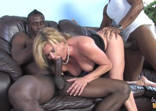 MILF Ginger Lynn in MMF interracial three-some fucking black rods