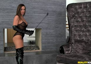 Mistress enjoys spending nasty time with her slave's cum-hole