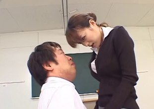 Japanese teacher is naughty as that babe fucks in class