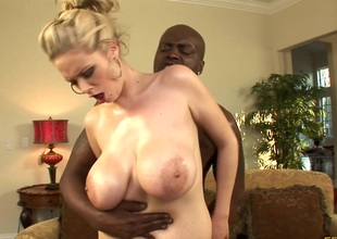 Breasty blonde cowgirl and her hung black dude fuck silly on the couch