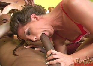 Gorgeous pornstars getting spooked with a big black cock in a gripping ffm three-some