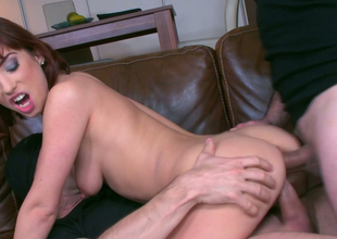 Redhead slut with skinny body Tina Hot gets a DP in MMF three-some