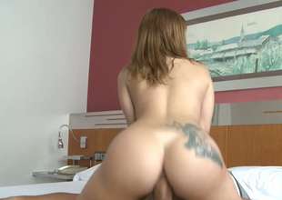 Big gazoo bouncing on top of massive hard dick in a cowgirl position