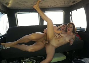 Marvelous brunette hair MILF is group-fucked hard doggy position in a car