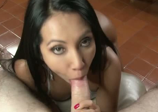 Lovely brunette hair girl with delicious Colombian gazoo gives head