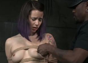Hardy porn floozy Freya French is brutally toy fucked in BDSM porn clip