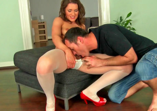 Cute Euro slut in stockings gets fucked so hard