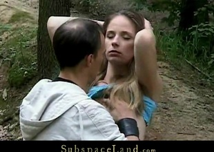 Skinny Claudie taken tied in forest and fucked
