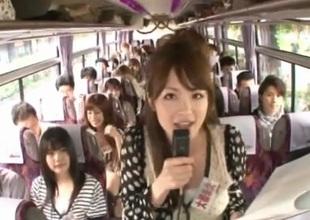 Crazy Asian beauties have hot bus travel