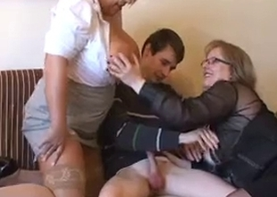 two big marvelous woman Tempt Young Guy
