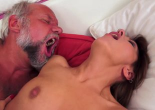 A naive and sexy girl that loves old males is getting rammed by one