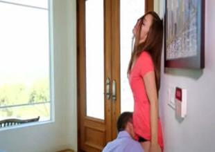 Lovely gal seduced her boyfriend's older boy