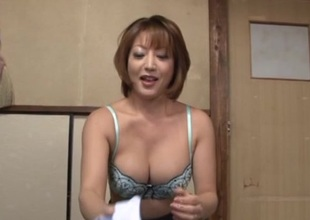 Reiko Kagami hot aged Asian babe in sexy dress