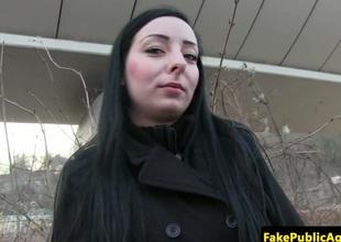 Czech chick cumswallows fake agents spunk