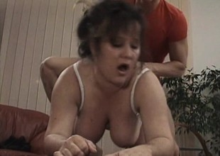 Fat old bitch receives worked on by an eager young dick in need of poon