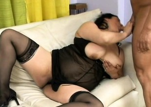 Aged Asian babe with a lot of plump breaks in her new boy toy