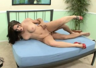Chubby brunette with a slutty tramp-stamp takes a deep dicking
