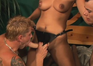 Two chaps and a babe with a strapon make each other moan loud
