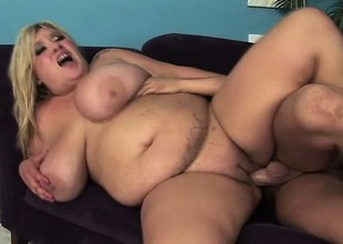 Huge tit plumper Kacey blows and gets her tits a bouncing when getting fucked