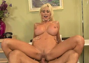 High end blonde whore in a choker gets her john to bust a nut