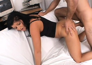 Pretty college girl gets nailed hard and takes a big load in her mouth
