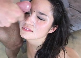 Adorable Asian girl gets her moist snatch licked, fingered and screwed