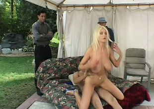Spouse watches his striking blonde wife getting fucked by another guy