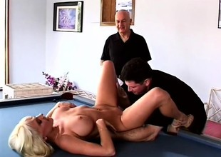 Horny husband loves to watch his busty blonde wife getting fucked by another guy